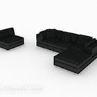 Black Minimalist Combination Sofa Design