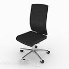 Sedia da ufficio in pelle nera con pattini a rotelle