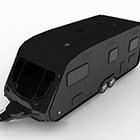 Czarny pojazd do przewozu samochodów ciężarowych