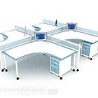مكتب أزرق وأبيض متعدد الأشخاص