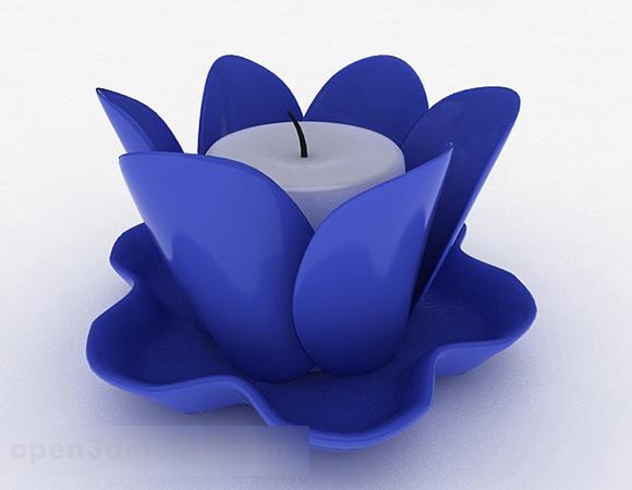 Candelabro en forma de loto azul