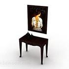 Ruskea kotipöytä, jossa on taidepiirustus