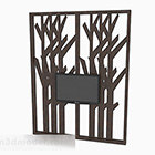Wooden Carved Pattern Tv Wall Partition