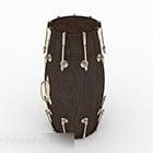 Ruskea puinen rumpu-instrumentti