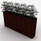 Brun trærektangel potteplante