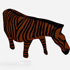 Brown Zebra Carving Ornaments