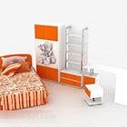 Pomarańczowe łóżko dla dzieci z szafką