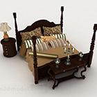 Čínský styl domů hnědá dřevěná manželská postel