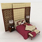 Čínská červená postel s manželskou postelí