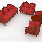 Chinese Red Sofa Set