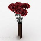 Crimson Flowers Indoor Flower Pot
