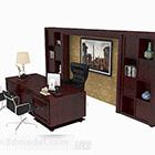 Dark Brown Wooden High-grade Desk Chair
