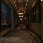 Interior koridor lorong hotel Eropah