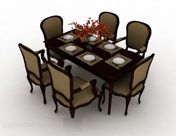 European Retro Simple Dining Table Chair Set Free 3d Model Max Open3dmodel 341808