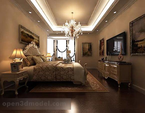 European Style Bedroom Interior 3d Model Max Vray Open3dmodel 319322