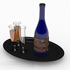 European Style Wine Bottle With Glass