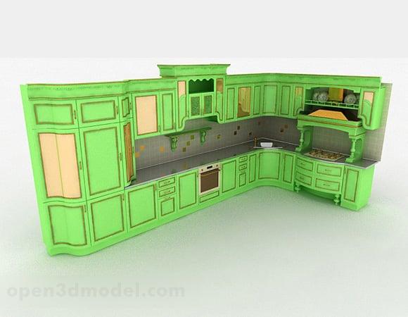 european green l shaped design cabinet free 3d model max open3dmodel 329697 open3dmodel com