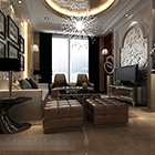 Interior European Villa Living Room Round Ceiling