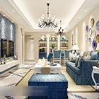 Interiér čerstvého středomořského obývacího pokoje