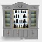 Gray Wooden Wine Cooler Cabinet
