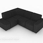 Semplice divano nero a più posti