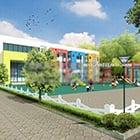 סצנת חוץ חיצונית אדריכלות גן ילדים