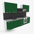 Modernt grönt övre och nedre kök