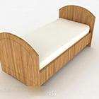 Letto singolo a righe in legno chiaro