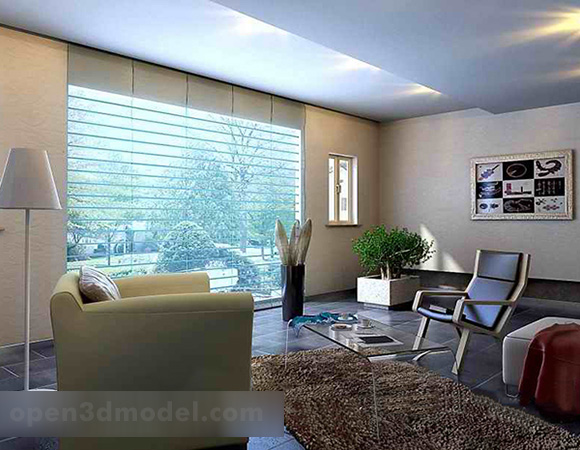 living room balcony furniture interior 3d model  max