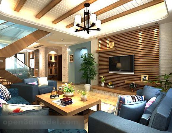 Living Room Tv Wall Decor Interior 3d Model Max Vray Open3dmodel 321345