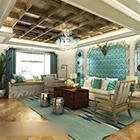 Interiér obývacího pokoje ve Středomoří