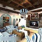 Interiér Obývací pokoj Středozemního obývacího pokoje