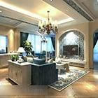 Interiér obývacího pokoje s televizí ve Středomoří