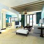 Interiér minimalistického obývacího pokoje ve Středomoří