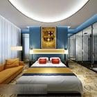 Schlafzimmer Interieur im mediterranen Stil
