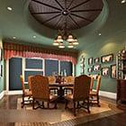 Čínská zelená zeď interiér obývacího pokoje