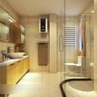 Interno moderno dell'insieme completo del bagno