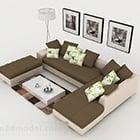 Brown Simple Combination Sofa Set
