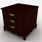 Modern Brown Three Story Bedside Table