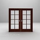 モダンなガラス木製両開きドア