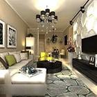 Modern Living Room Plaster Tv Wall Interior