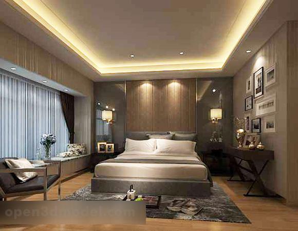 Modern Minimalist Bedroom Interior 3d Model Max Vray Open3dmodel 319380