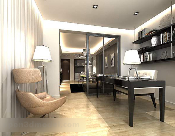Modern Study Partition Interior 3d Model Max Vray Open3dmodel 320813
