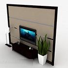 Mobile TV moderno a righe in legno marrone