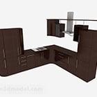 モダンなダークブラウンのL型キッチン