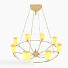 Nowoczesny ciepły żółty okrągły żyrandol