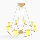Modern Warm Yellow Circular Chandelier