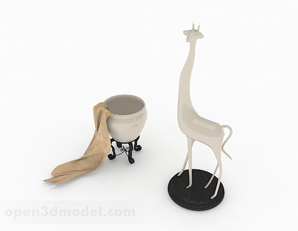 Modern White Giraffe Ornament