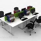 ホワイトオフィステーブルチェアコンビネーション