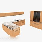 Moderní stylový béžový bílý kabinet ve tvaru L